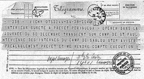 Télégramme annonçant la dissolution du camp du Sablou