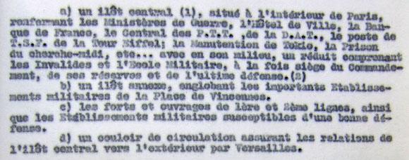 Note du général Voiriot sur la défense de la région parisienne.