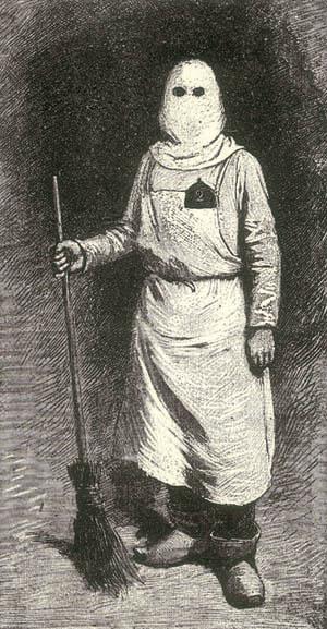 Détenu muni du capuchon belge à la prison cellulaire de Bruxelles