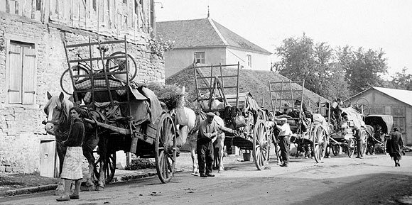 Scène de l'exode de juin 1940