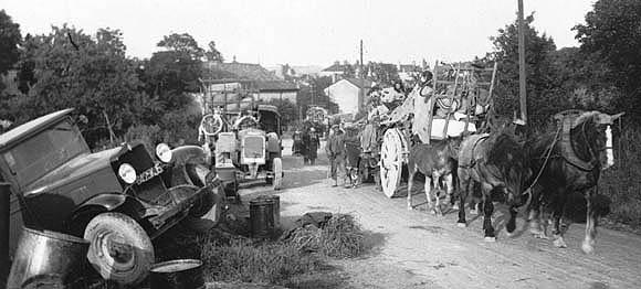 Scène d'exode en juin 1940.