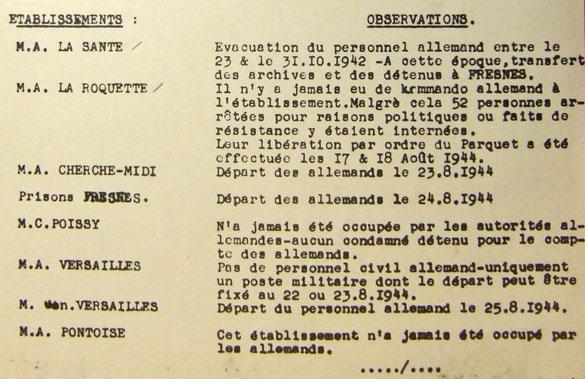 Lettre du ministre de la Justice établissant la liste des prisons parisiennes et la date de leur libération par les Allemands
