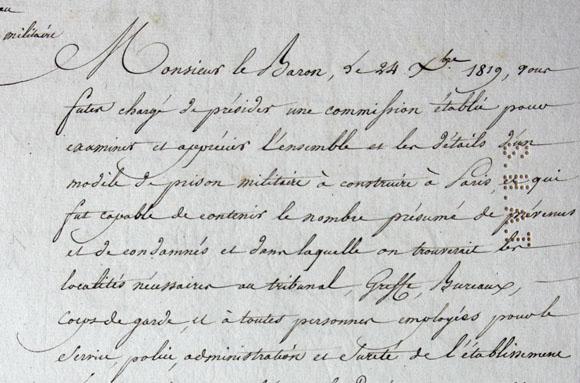 Lettre du ministre de la Guerre de Latour-Maubourg, en 1821