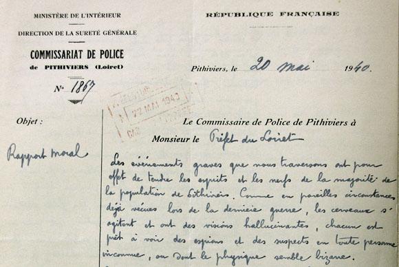 Rapport du commissaire de police de Pithiviers, le 20 mai 1940.