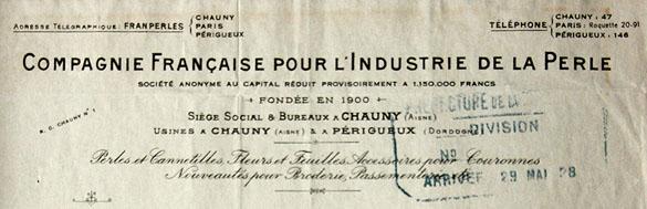 En-tête de lettre de l'usine de la Perlerie en 1928.