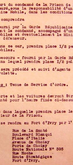 Extrait d'une note de service relative à l'exécution de condamnés à mort détenus à la prison de la Santé, fusillés au Fort d'Ivry