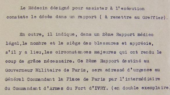 Instruction pour le médecin désigné pour assister à l'exécution d'un condamné à mort fusillé au Fort d'Ivry