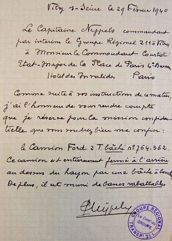 Note du Capitaine Nypels du 29 février 1940 à propos du transport d'un condamné à mort qui doit être fusillé au Fort d'Ivry