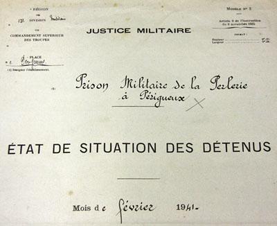 Page de garde du registre d'écrou de la prison militaire de la Perlerie en février 1941