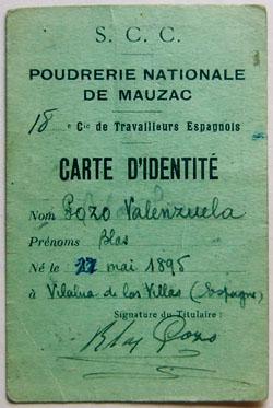 Carte d'identité de Blas Pozo, travailleur espagnol à la 18e Compagnie stationnée à Mauzac