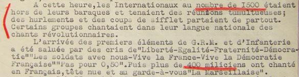 Extrait du rapport Davergne, commandant le camp de Gurs, à propos de la révolte des brigadistes internationaux yougoslaves et hongrois