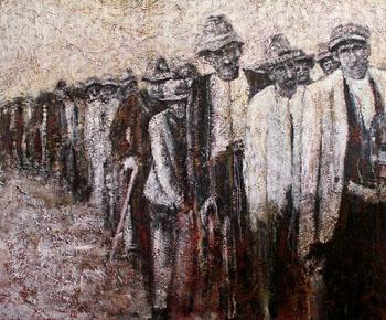 """""""Déportés Tsiganes, direction Jasenovac"""", huile sur toile, 150 x 180 cm, 2010, Francine Mayran"""