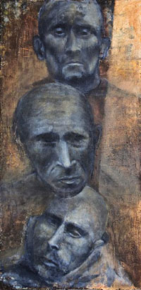 """""""Derniers regards"""", huile sur toile, 100 x 50 cm, 2007, Francine Mayran"""