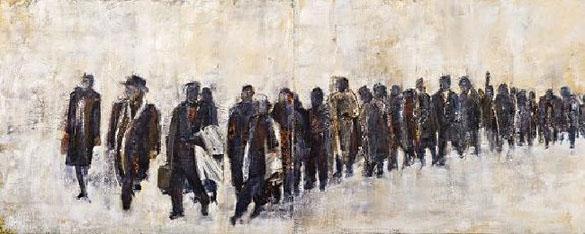 """L'exode"", huile sur toile, diptyque, 2007, Francine Mayran"