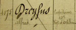 Alfred Dreyfus, écrou 1075 sur le registre de la prison du Cherche-Midi.