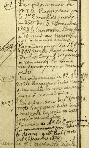 Extrait du registre d(écrou de la prison militaire de Paris, Alfred Dreyfus.