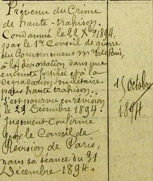 Extrait du registre d'écrou du Capitaine Dreyfus emprisonné au Cherche-Midi.