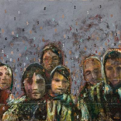 """Retrouver l'innocence"", 2009, huile sur toile, 100 x 100 cm, Francine Mayran"
