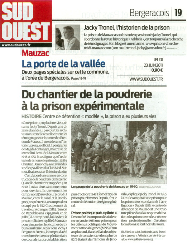 """""""Du chantier de la poudrerie à la prison expérimentale"""", Sud-Ouest du 23 juin 2011."""