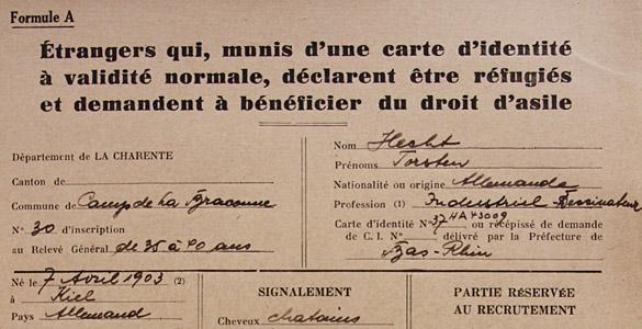 Fiche signalétique de Torsten Hecht, interné au Camp de La Braconne