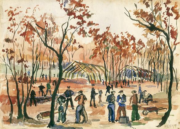 Aquarelle réalisée à l'automne 1939 au Camp de La Braconne par Torsten Hecht, interné allemand