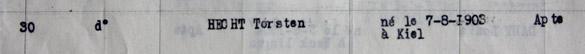 Torsten Hecht : interné au Camp de La Braconne, déclaré apte en 1940.