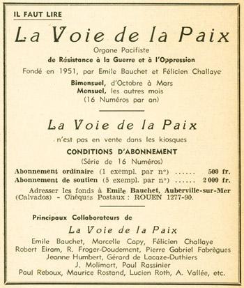 """Publicité pour """"La Voie de la Paix"""", co-fondé par Émile Bauchet en 1951"""