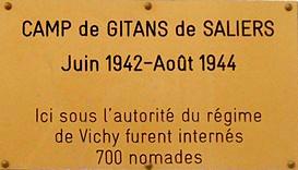 Plaque du camp tsiganes des Alliers à Angoulême