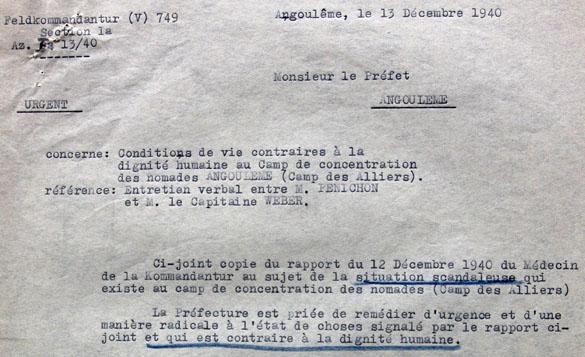 Lettre de la Feldkommandantur d'Angoulême à propos du camp de nomades des Alliers…