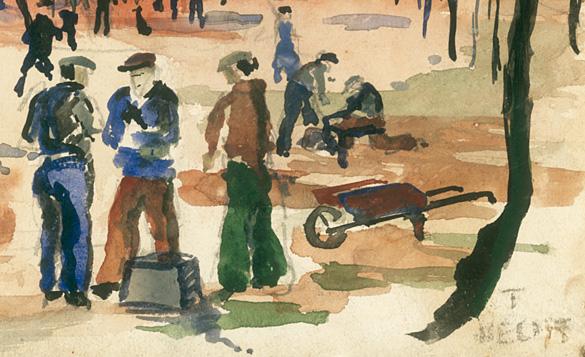 Signature Tortsen Hecht sur aquarelle d'un interné allemand du Camp de La Braconne.