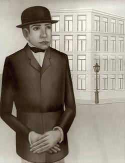 Anton Räderscheidt, Mann vor gelbem Haus (Handlungsreisende), 1923, huile sur bois, 50x39 cm