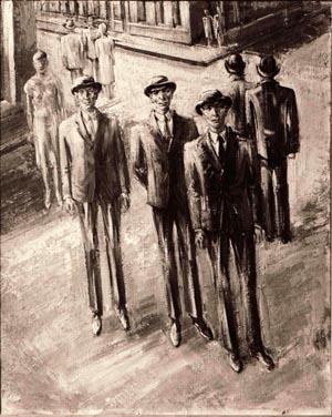Anton Räderscheidt, 1933, Straßenbild III, huile sur toile 100 x 80 cm.