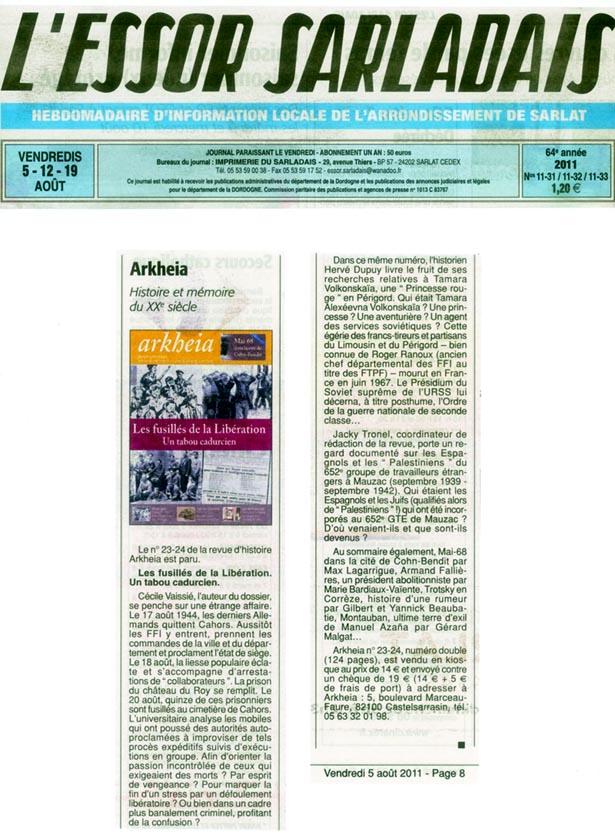 L'Essor Sarladais du 5-12-19 août 2011, p. 8, annonçant la sortie de la revue Arkheia