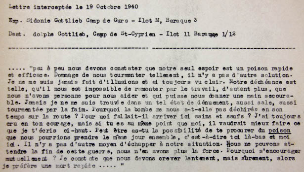 Extrait de la lettre de Sidonie Gottlieb, camp de Gurs, 1940.
