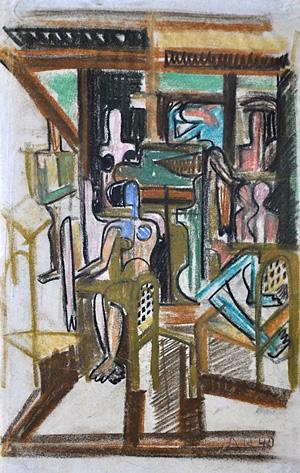 Anton Räderscheidt, Le Camp des Milles, 1940, Pastel.