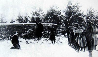 Exécution au cours de la Première Guerre mondiale.