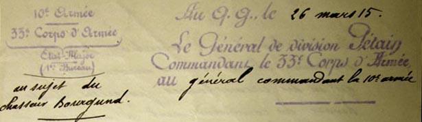 Lettre manuscrite du Général de division Pétain  adressée au Général Maud'Huy commandant la 10e Armée, du 26 mars 1915.