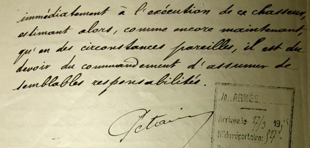 Lettre manuscrite du Général de division Pétain au Général de Maud'huy, du 26 mars 1915.