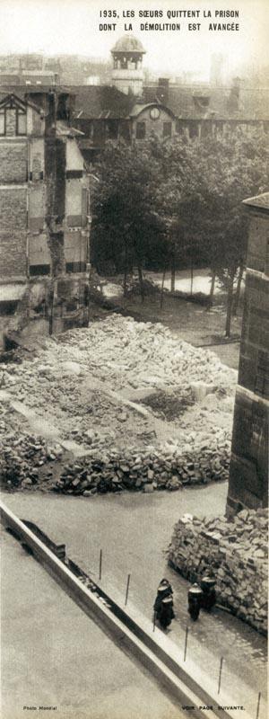 Démolition de la prison Saint-Lazare. Départ des religieuses, 1932.