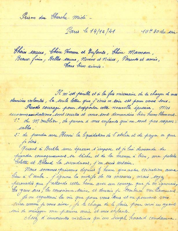 Lettre du fusillé Roger Berne, prison du Cherche-Midi, 14 décembre 1941, recto.