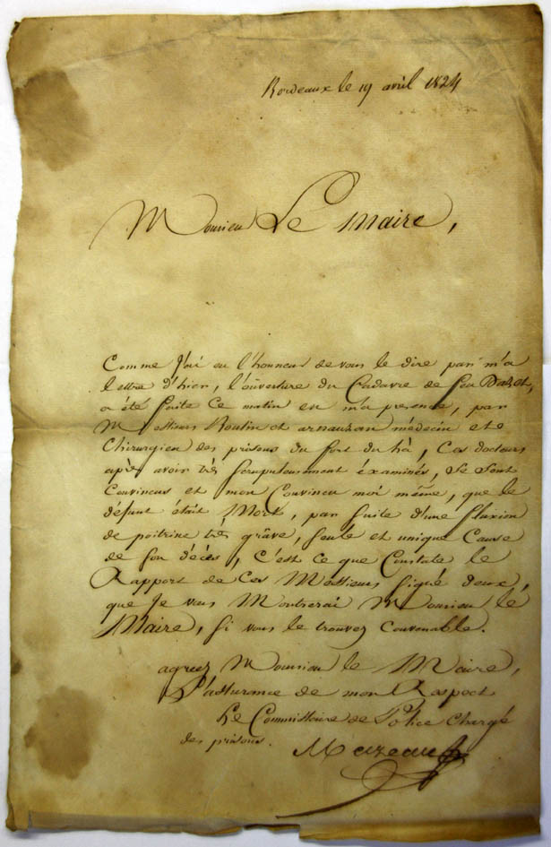 Lettre du Commissaire Mazeau chargé des prisons au sujet du décès de Pierre Dazet au Fort du Hâ, le 18 avril 1824.