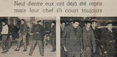 Détenus algériens évadés de Mauzac repris le 7 novembre 1961.