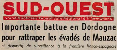 Journal Sud-Ouest du 8 novembre 1961 relatant l'évasion des détenus algériens du camp de Mauzac