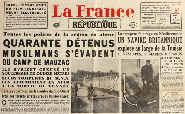Journal La Nouvelle République du 7 novembre 1961 relatant l'évasion de Mauzac