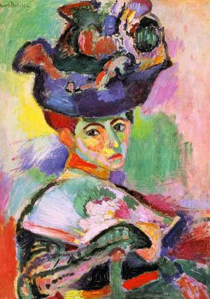 """Henri Matisse, """"La femme au chapeau"""", présentée au Salon des Indépendants en 1905."""