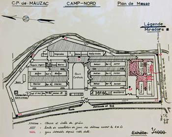 Plan de l'évasion au camp nord du centre pénitentiaire de Mauzac, le 5 novembre 1961