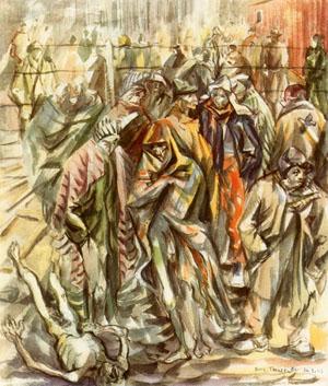 Le petit camp de Buchenwald en février 1945, aquarelle de Boris Taslitzky