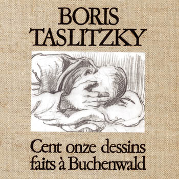 """Couverture du coffret des """"Cent-onze dessins faits à Buchenwald"""" par Boris Taslitzky, Association française Buchenwald-Dora, Éditions Hautefeuille, 1978"""