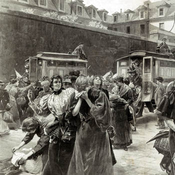 Un arrivage de filles publiques dans la cour de la prison Saint-Lazare. l'Illustration du 13 février 1897.