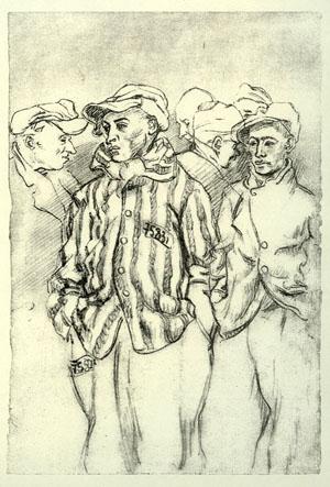 Jeunes Français attendant la soupe au Camp de Buchenwald, dessin de Boris Taslitzky